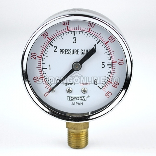 "TOYODA Japan Pressure Gauge Alat Ukur Tekanan Angin Manometer 2.5"" Drat 1/4"" 6 Bar"